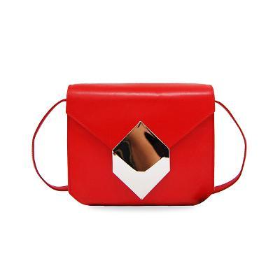 gold prism crossbody bag red
